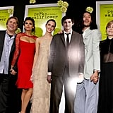 Emma Watson, Nina Dobrev, Ezra Miller, Mae Whitman, and Johnny Simmons linked up on the red carpet for the Perks of Being a Wallflower premiere in LA.