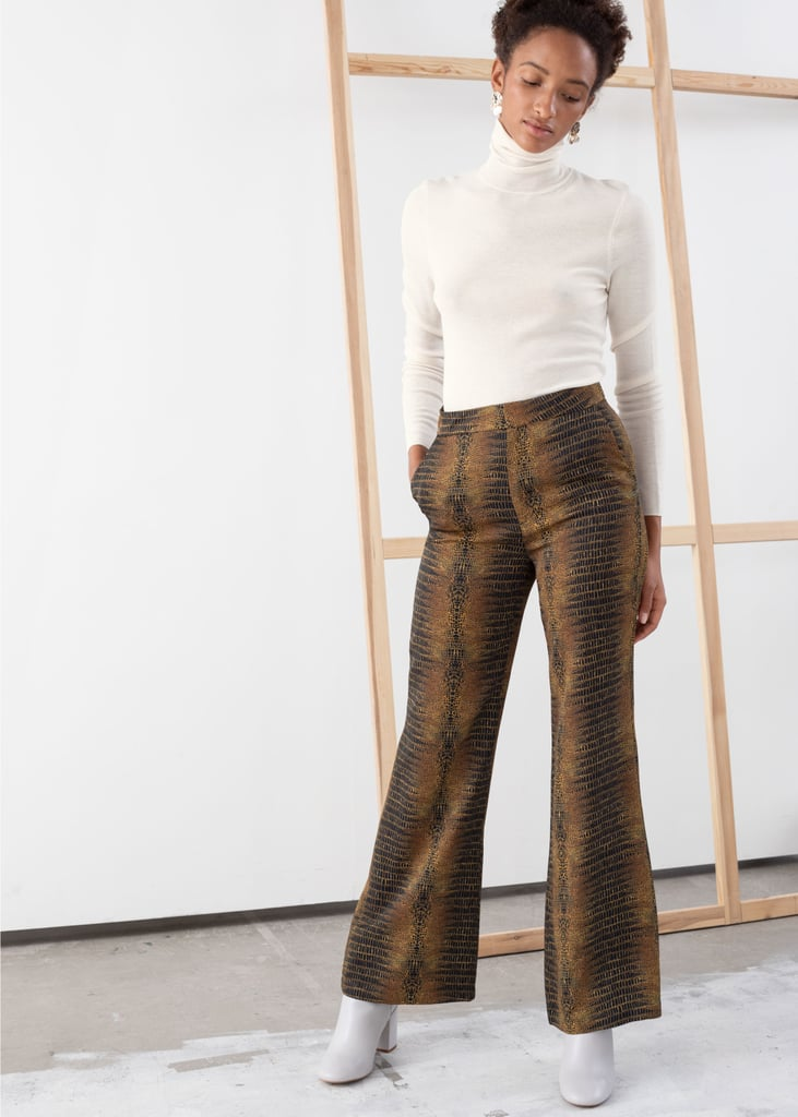 & Other Stories Flowy Tailored Croco Trousers in Brown Croco