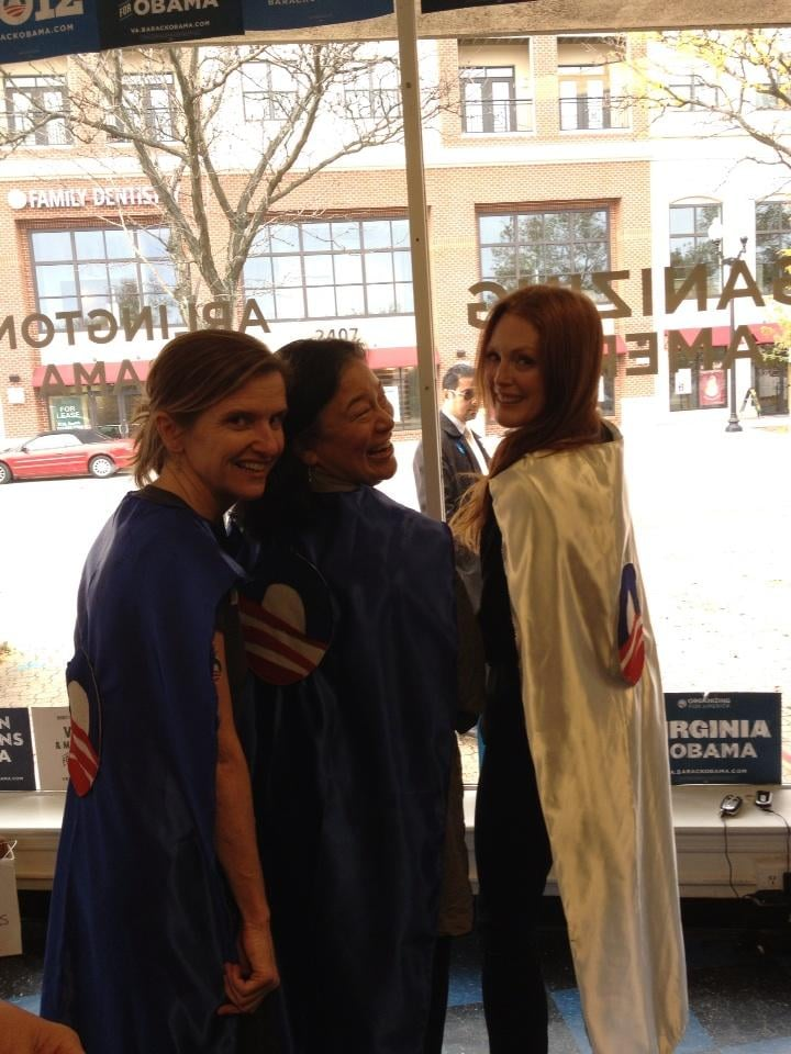 Julianne Moore mixed Halloween playfulness into her efforts to re-elect President Obama while campaigning in Virginia.  Source: Twitter user _juliannemoore