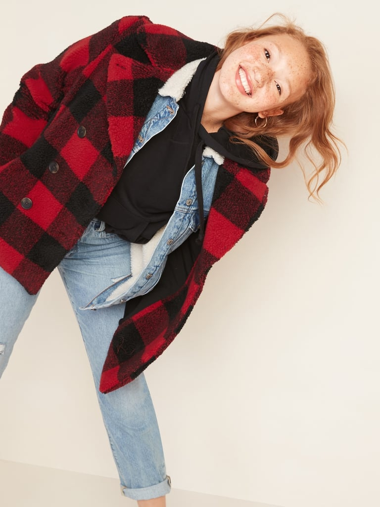 Old Navy Cosy Plaid Sherpa Peacoat