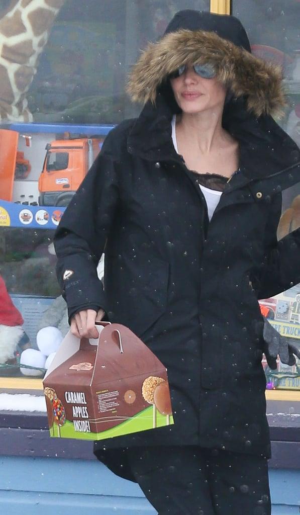 Angelina Jolie Shearling Parka Jacket In Colorado Jan