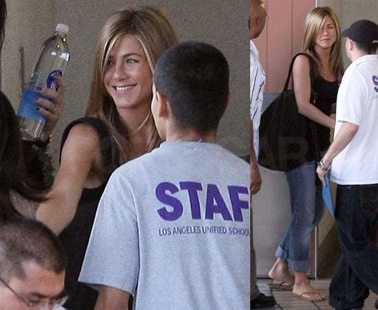 Photos of Jennifer Aniston at John Mayer's Birthday Party and Visiting Cahuenga Elementary School