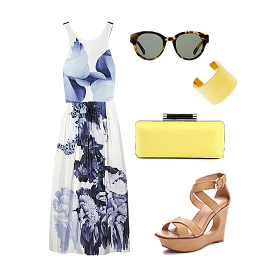 It's your big day, so if you feel like dressing up, go for it in a pretty Summer frock, done up in a gorgeous floral print. Finish it off with wedges you can actually walk in and a pop of color on your clutch. Add in a dose of shine via a gold cuff and complete your look with quintessential shades.  Get the look:  Tibi Floral Print Silk Dress ($575) Karen Walker Anywhere Sunglasses ($280) J.Crew High-Shine Wide Cuff ($65) Diane von Furstenberg Tonda Raffia Clutch ($345) Dolce Vita Orla Cutout Wedge Sandals ($190)