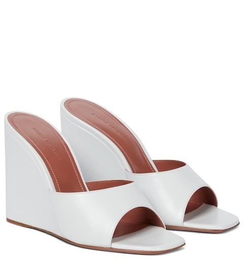 Amina Muaddi Lupita Leather Wedge Sandals