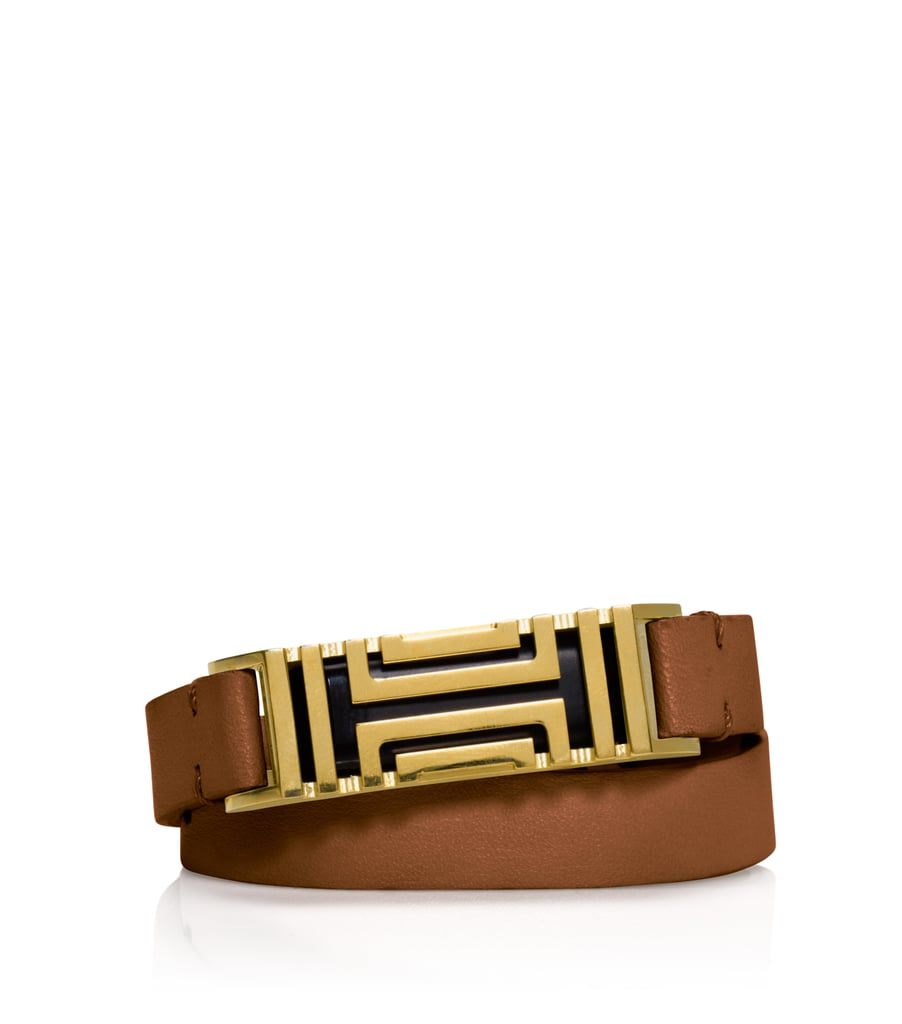 Tory Burch For Fitbit Fret Double-Wrap Bracelet in Bark/Aged Gold ($175)