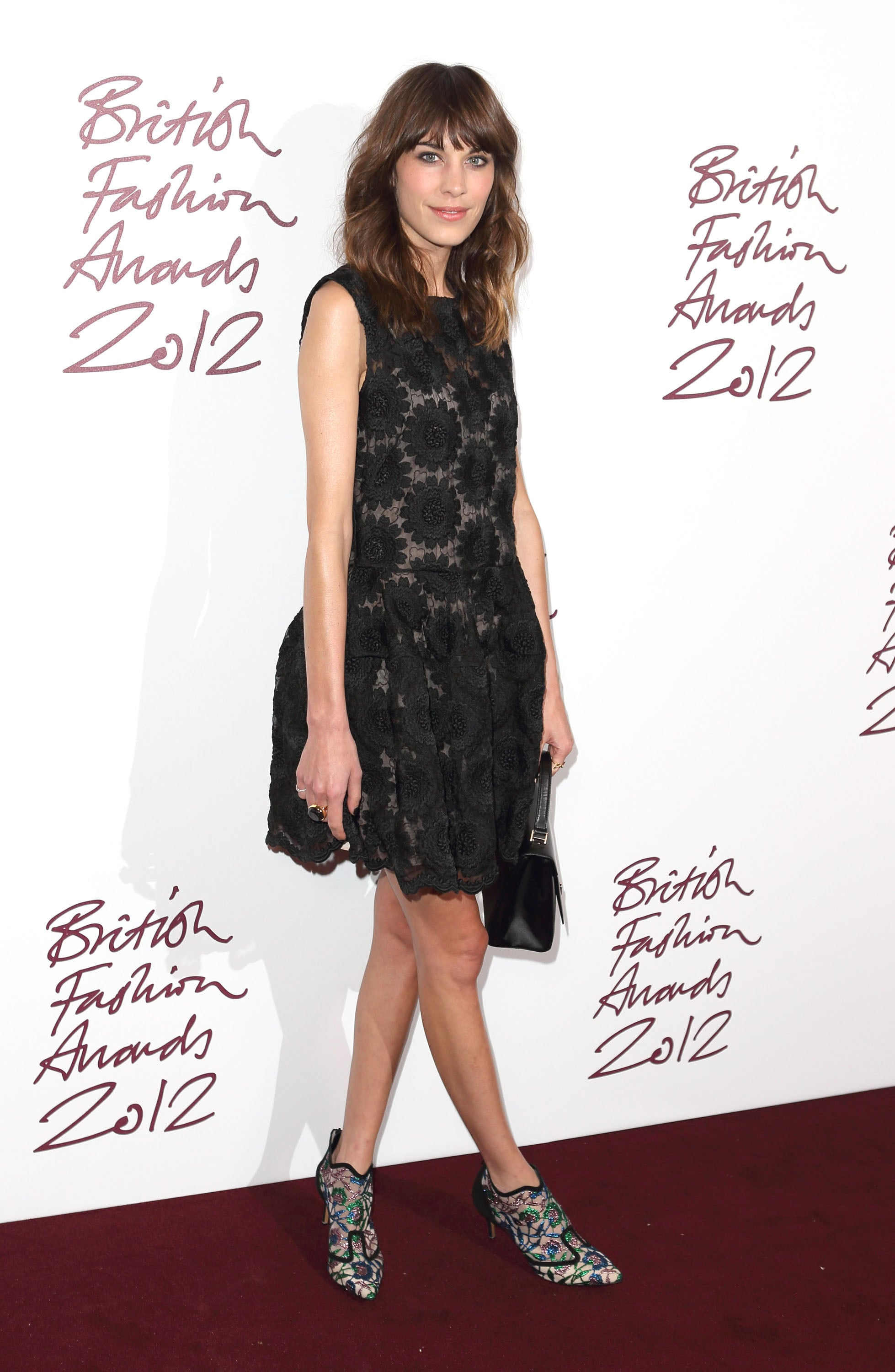 Alexa Chung's embroidered mesh Nicholas Kirkwood boots really elevated her look from simple to dazzling at the 2012 British Fashion Awards.