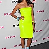 Kat Graham chose a bright neon dress.
