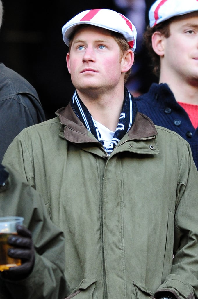 Prince Harry donned a cap to watch a rugby game in London back in February 2011.