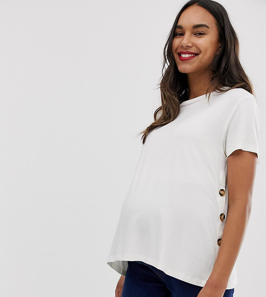 ASOS DESIGN Maternity Nursing T-shirt With Button Sides in Cream