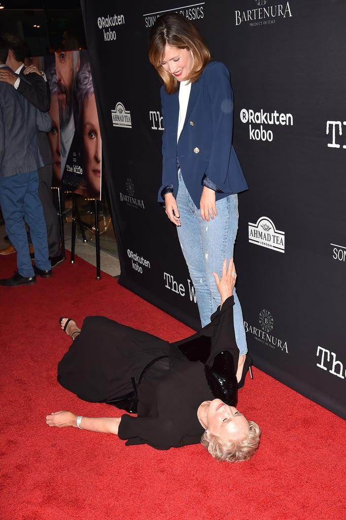 Glenn Close Pretends to Faint on the Red Carpet 2018