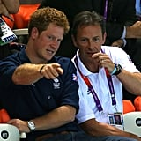 Prince Harry watched Team GB divers at the Olympics.