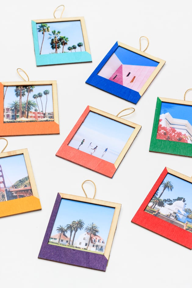 DIY Color-Blocked Instagram Ornaments