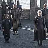 Emilia Clarke as Daenerys, along with Tyrion (Peter Dinklage), Varys (Conleth Hill), and Missandei (Nathalie Emmanuel).