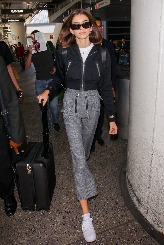 Kaia Gerber Wearing Plaid Pants