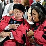 Oprah was honored alongside Boston Mayor Thomas Menino, who also received an honorary degree.