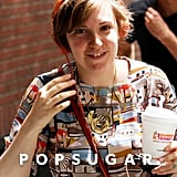 Lena Dunham worked on the third season of Girls in NYC on Wednesday.