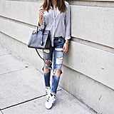 A Striped Button-Front Shirt, Distressed Jeans, and Trainers