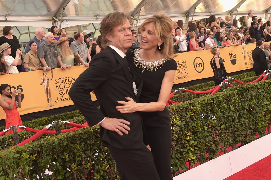 """William H. Macy won big with the outstanding performance by an actor in a comedy series for Shameless at the SAG Awards in LA on Sunday night and he thanked his beautiful wife, Felicity Huffman, in his speech. But he gave her a shoutout with a twist, saying """"Flicka, I love going to bed with you, too."""" This isn't the first time William's nickname for Felicity has been made public, since she founded a website for women and mothers called """"What the Flicka?"""" in 2012.  Felicity replied to the love on Twitter, writing, """"Love going to bed with you too"""" and then added another shoutout to her husband on Instagram with a post captioned, """"JUST F*CKING WON!! Love going to bed with you too, Bill.""""  Love going to bed with you too @WilliamHMacy — Felicity Huffman (@FelicityHuffman) January 26, 2015   The duo has been married since 1997 and are all about sweet moments on the red carpet. Keep reading to see more from Felicity and William's fun night, which started with cute couple's snaps on the red carpet."""