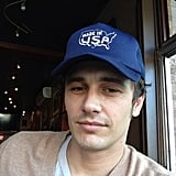 "James Franco snapped a selfie while wearing a ""Made in USA"" cap. Source: Instagram user jamesfrancotv"