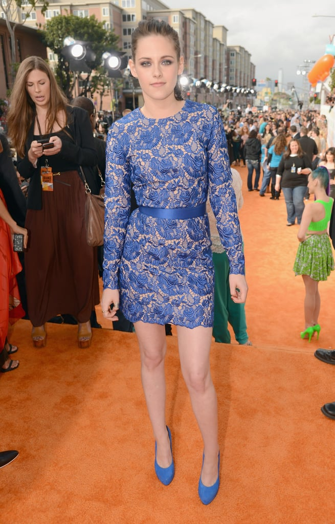 Kristen Stewart wore a blue floral lace minidress from Stella McCartney's Evening 2012 collection.