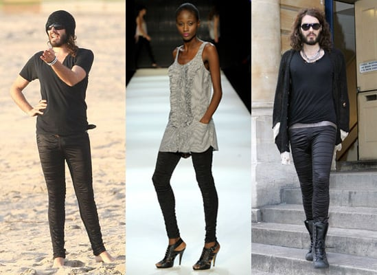 Russell Brand on His Sass and Bide Ruched Leggings