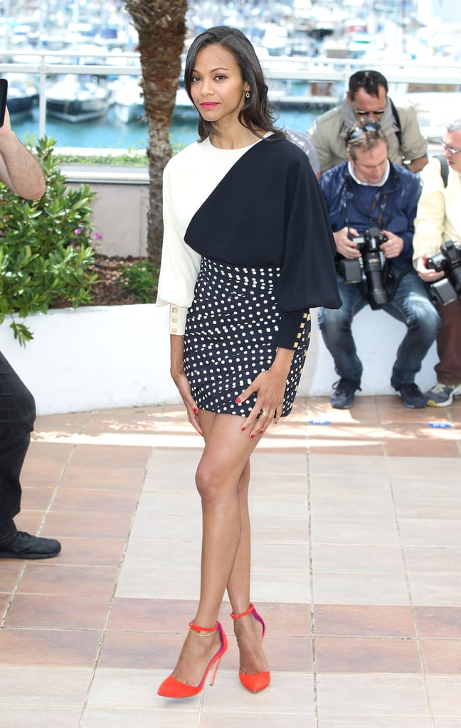 Zoe Saldana in Emanuel Ungaro at the photocall for her film Blood Ties at Cannes.