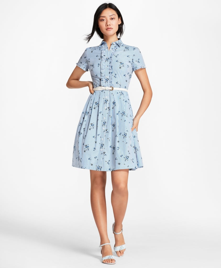 Brooks Brothers Floral Print Striped Cotton Poplin Shirt Dress