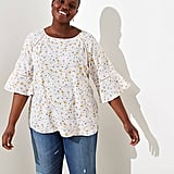 Loft Floral Perforated Lacy Mixed Media Top