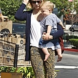 January Jones went grocery shopping with Xander in LA.