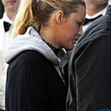 Blake Lively wore her hair in a ponytail on the set of Gossip Girl in NYC.