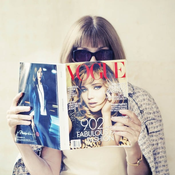 Anna Wintour was snapped reading Vogue's September issue. Source: Instagram user voguemagazine