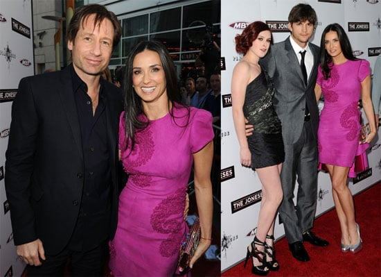 Pictures of Demi Moore, Ashton Kutcher, David Duchovny, and Rumor Wills at the Premiere of The Joneses