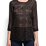 Just the right amount of sheer to offset the bold embroidery pattern.  Mango Embroidered Sheer Blouse ($55)