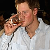 Prince Harry enjoyed a drink in Belize.