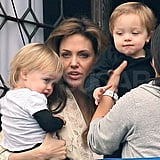 Angelina Jolie and her twins, Knox and Vivienne, were fixtures around Venice as she shot The Tourist in March 2010.