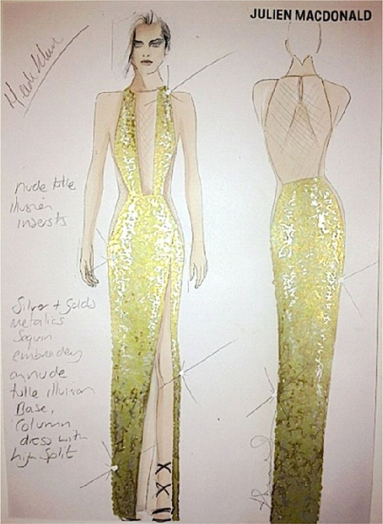 A sneak peek of Heidi Klum's Julien Macdonald gown.  Source: Twitter user heidiklum