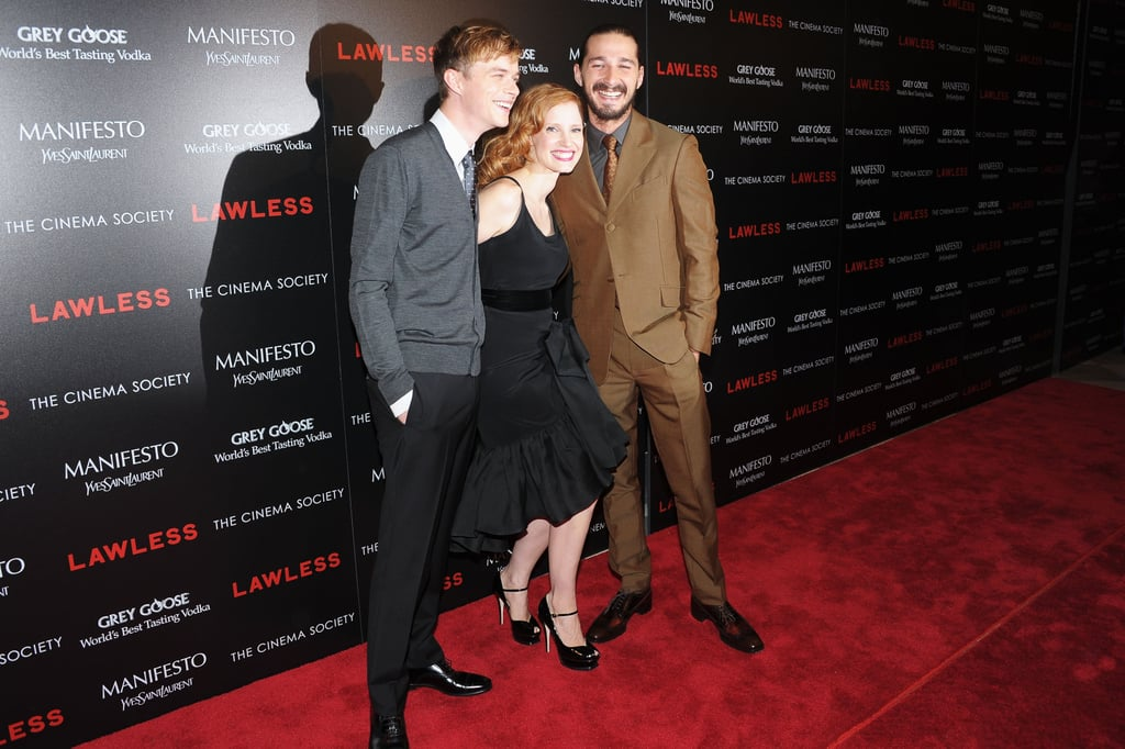 Jessica Chastain linked up with Shia LaBeouf and Dane DeHaan for a screening of Lawless in NYC.