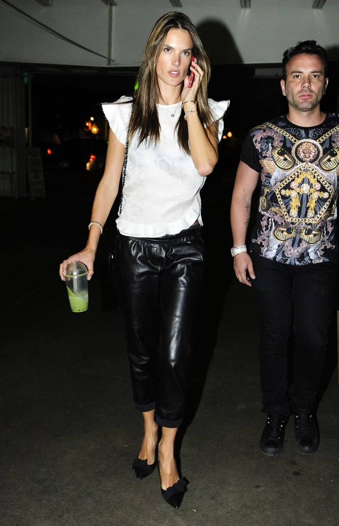 Alessandra Ambrosio was anything but basic in her black leather drawstring pants and white cap-sleeve blouse during a night out in Hollywood.