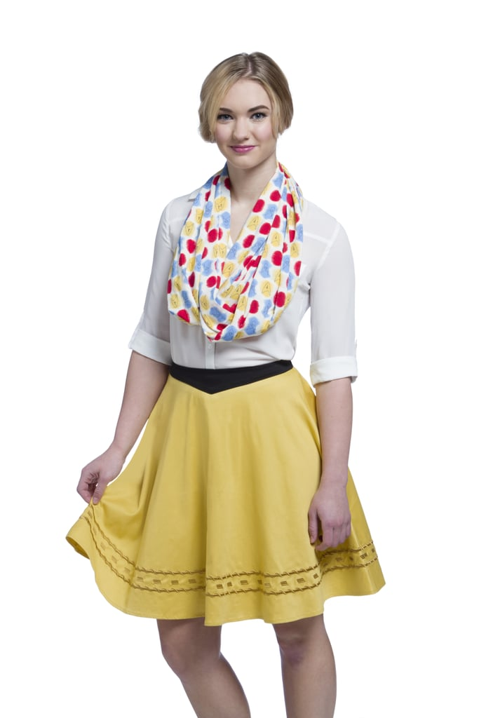 Star Trek Atomic Delta Pattern Infinity Scarf ($25) and Star Trek TOS Uniform Skirt - Gold ($70)