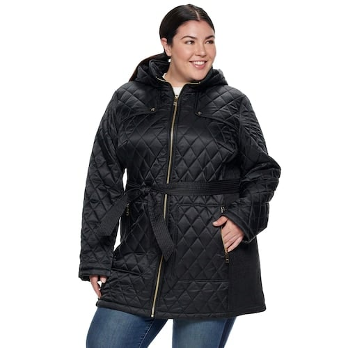 Nine West Plus Size Hooded Diamond-Quilted Belted Jacket