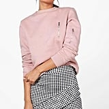 Boohoo Avalon Drop-Hem Gingham Miniskirt