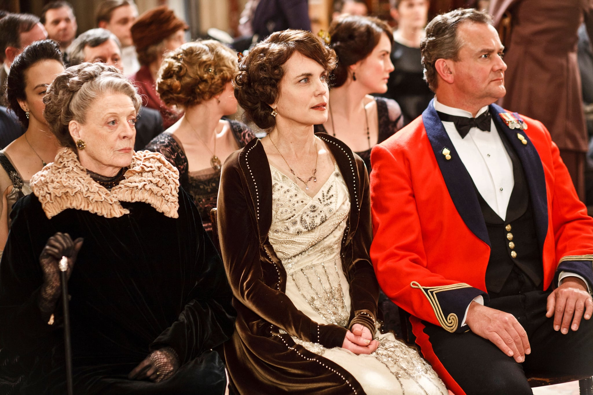 DOWNTON ABBEY, from left: Maggie Smith, Elizabeth McGovern, Hugh Bonneville, (Season 2, ep. 201, aired in the UK on Sept. 18, 2011/aired in the US on Jan. 8, 2012), 2010-2015. photo: Nick Briggs / Carnival Films for Masterpiece/PBS / Courtesy: Everett Collection