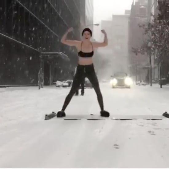 Karlie Kloss Working Out in the NYC Snowstorm January 2018