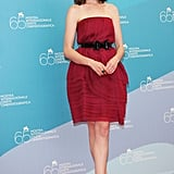 Anne looked gorgeous and girly in red at the 2008 Rachel Getting Married photocall in Italy.