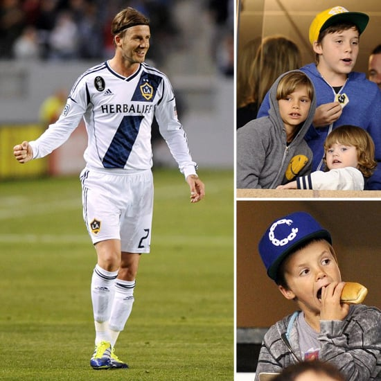 David Beckham Pictures at Game With Sons Watching