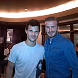 David Beckham and Taylor Lautner palled around at a performance of Cirque d Soleil's Iris.