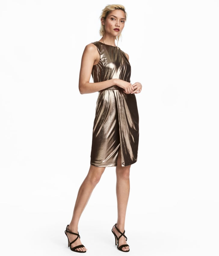 10 Best Celebrity Wedding Guest Dresses: A High-shine Option Like This H&M Shimmering Metallic