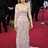 Kate Mara donned a blush pink Elie Saab with a matching clutch. We love how her soft updo completes her romantic aesthetic.