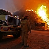 Firefighters monitored the flames on its second day burning.