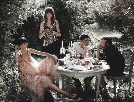 Stella Tennant, Freja Beha Erichsen, Baptiste Giabiconi, and Ines de la Fressange for Chanel, by Karl Lagerfeld